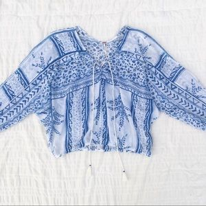 Free People Floral Lace Up Peasant Top